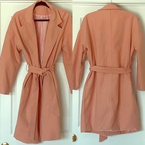 Seamstress Sewn Classic Pink Wrap Coat with Belt